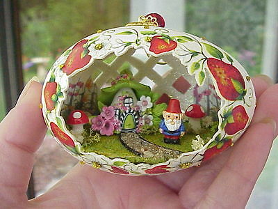 REAL Hand Decorated Goose Egg Collectible Ornament Garden Gnome Strawberries