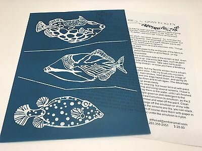 Ginny Eckley Silk Screen Stencil, Fish, For Fabric Dyes & Painting (RF610)