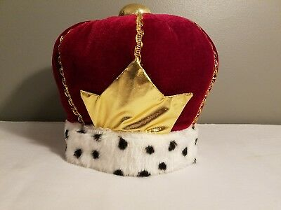 Kings Crown Fancy Red Velour & Gold Lame' With Jeweled Trim Lined Costume Crown