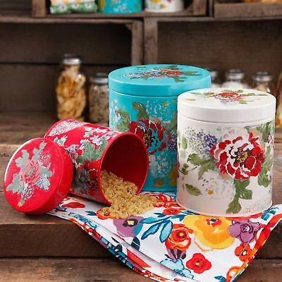 Kitchen Canister Set Flowers Pioneer Woman Country Garden 3 Piece Country