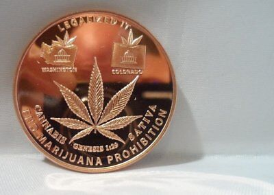 Legalised it , classic 1 oz Sativa pure copper art bullion 39 mm rounds.999
