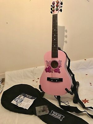 FIRST ACT Childs Pink Embellished Flower Guitar,Stand,Bag,Instructions.String.