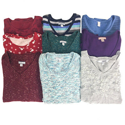 LOT of 9 Women's XL Long Sleeve Tops Sweaters Sonoma Croft & Barrow Good Cond.