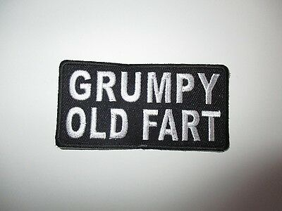 Grumpy old fart Embroidered Patch Sew/Iron Rider biker Motorcycle vest