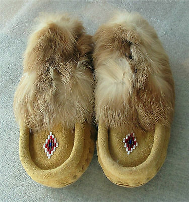 Plains Beadwork Beaded Child Moccasins  Tanned  Hide Rabbit fur