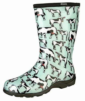 Sloggers Rain and Garden Boots for Women-Cowabella Cow Print, Size 7, Mint