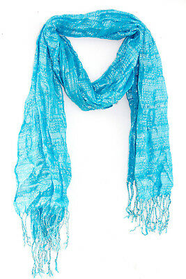 Ladies Light Aquatic Blue Silver Lined Square Pattern Weaved Scarf(Ms6)