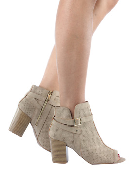 Perforated Peep-Toe Bootie Women Clyde-23-52 Qupid Taupe Distress Nubuck Pu