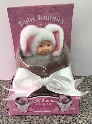Anne Geddes White Plush Baby Bunnies in Easter Egg Collectors Series Doll 564601
