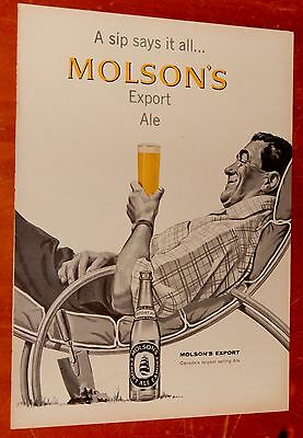 Canadian 1958 Molson Beer Ad With Man Relaxing In Summer Lawn Chair - Vintage