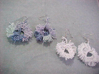 Shuttle TATTED EARRINGS ( 2 sets)  Blues and White Colors Dove Country Tatting