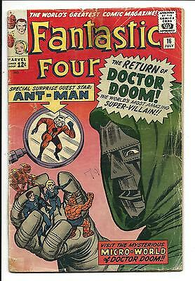 Fantastic Four # 16 (Ant-Man & Doctor Doom, July 1963), Gd/vg