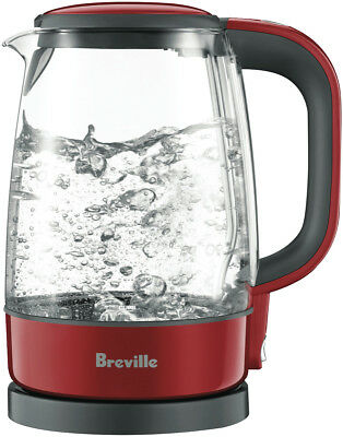 NEW Breville BKE480CRN The Crystal Clear Glass Kettle - Cranberry