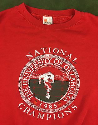 Vintage Mens XL 1985 Oklahoma OU Sooners Football National Champions Red Sweater