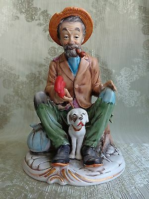 Vintage Old Man Figurine W/Dog - Napoware - Porcellane D'arte - C8691