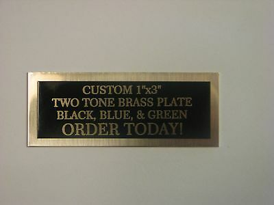 "custom engraved 1""x3"" two tone brass plate"