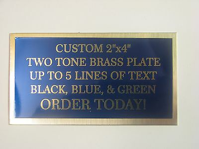 """custom engraved 2""""x4"""" two tone brass plate"""