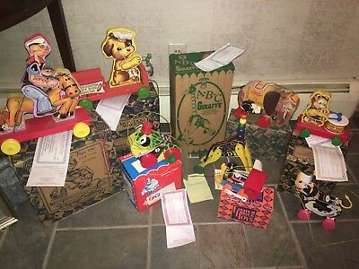 8 Vintage Fisher Price Fisher-Price Pull Toys Lot NIB NEW in Box w/ Certificate