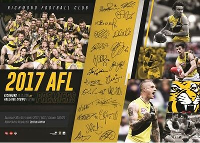 2017 Richmond Tigers Printed Signed Final Premiers Premiership Poster Print