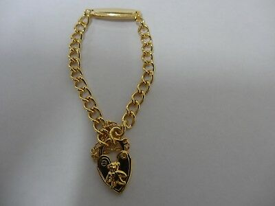 Gold Plated Baby Bracelet With Tablet Teddy Bear Padlock & Safety chain