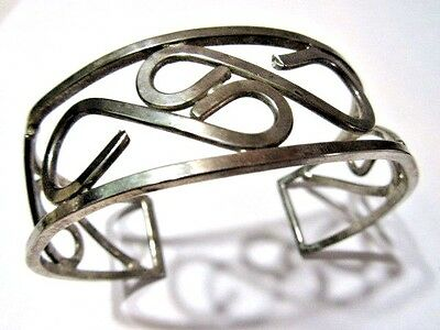 Vintage Silver Tone Stylish Open Curled Work Cuff Bracelet Midcentury 1970's