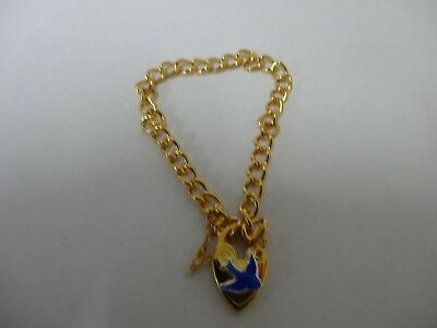 Gold Plated Baby Bracelet With Bluebird Padlock and Safety chain