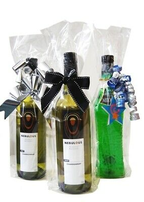 50 x Clear Cello Wine bottle Gift bags - 420mm (h) X 120mm (w) X 55mm Gusset