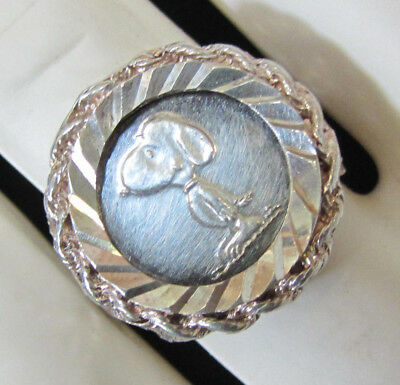 FINE SILVER Snoopy Peanuts Gang Vintage Coin Ring by AMPAC Sterling Mount Size 7
