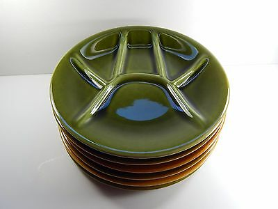 6 Boch Freres Divided Fondue Sushi Snack Plates.  Belgium 9""