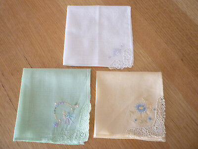 ANTIQUE VINTAGE 1950's embroidered cotton HANDKERCHIEF HANKY three in total