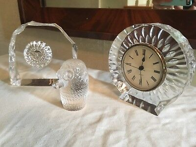 ** Vintage Lot of 3 Heavy Cut glass paperweights figurines clock quartz crystal?