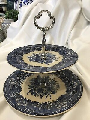 NEW two tier cake stand high tea party blue & white floral