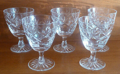 "Set FIVE Royal Doulton Small Wine / Port Crystal Cut Glasses ""Prince Charles"""