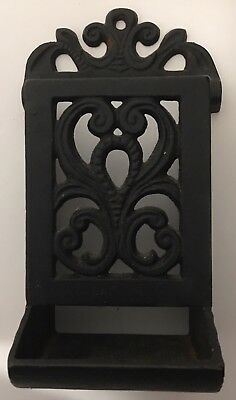 Cast Iron match holder black antique wall mount ornate design collectible
