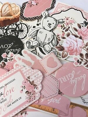 KAISERCRAFT DIE CUT PACKS - PITTER PATTER GIRL  (15 pieces in pack)
