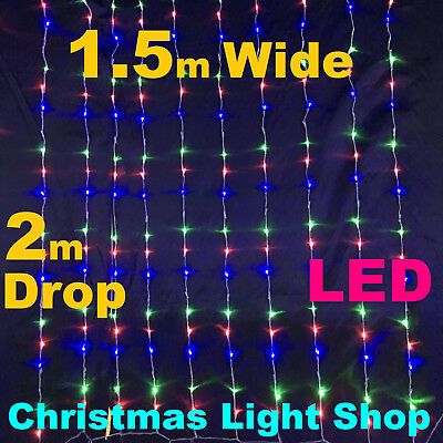 240 LED MULTICOLOUR Waterfall Curtain 1.5 x 2m Outdoor Icicle Christmas Lights