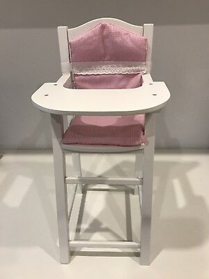 Wooden Dolls High Chair - white with pink and white gingham cushion.  NEW