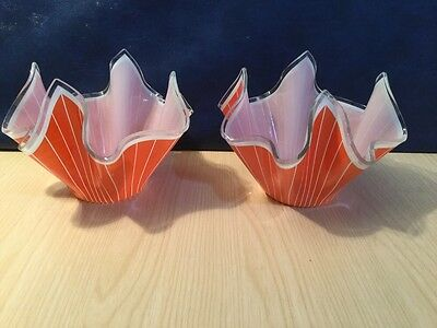 Pair Of Chance Glass Handkerchief Dishes 1961 Cordon