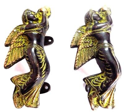 Angel Lady Antique Vintage Finish Handmade Brass Door Handle Set Knob Home Decor