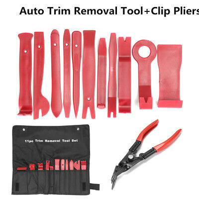 12pcs Car Auto Door Molding Dash Panel Audio Trim Removal Tool Kit & Clip Pliers