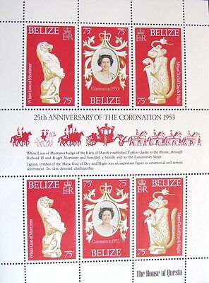 COMPLETE SHEET 6 BELIZE STAMPS 1978 25th ANIVERSARY 1953 CORONATION