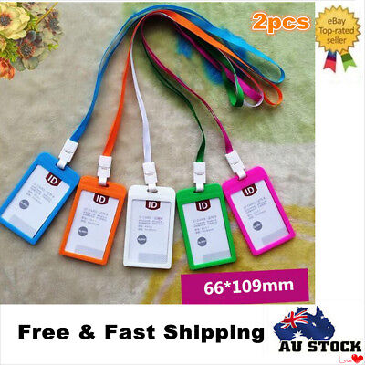 2 x ID Badge Card Holder Business Security Pass Tag Holder with Lanyard