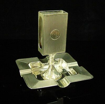 Unusual Vintage h/m Solid Silver Ashtray with Matchbox Holder Birmingham 1927