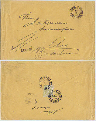Bosnien, 1895, NEVESINJE, 8 I, Reko-Brief n.AUE/Sachsen