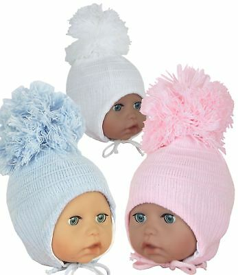 BabyPrem Baby Clothes Boys & Girls Winter Hats Large Pom Pom Nepalese Hat 0 - 6m