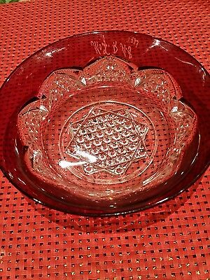 Antique Ruby Glass clear glass pretty small bowl with  an eight-angled star