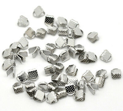 200 Newest Silver Tone Textured End Caps Crimp Beads 6x8mm