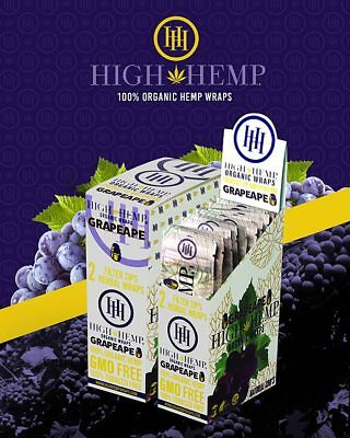 High Hemp GrapeApe (grape) Wraps Full Box 25 (2 Wrap) Pouches 50 Wraps