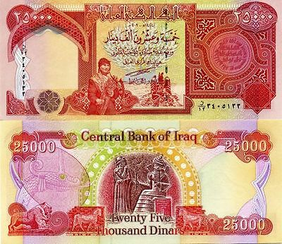 50,000 NEW 2013 Uncirculated Certified Iraqi Dinar Banknotes  25000 X 2
