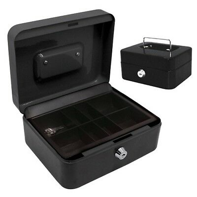 Cash Box 6 Inch With Coin Tray and Handle Black 2 keys Banner BNR1230443